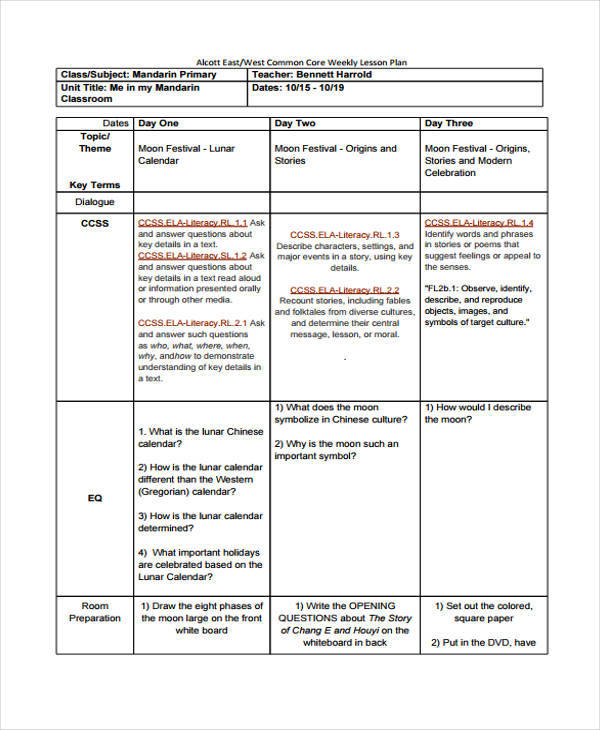 common core weekly lesson plan