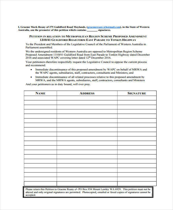 Community Petition  Free Sample Example Format Download