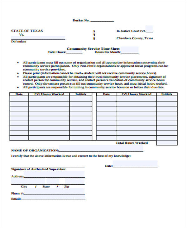 community service time log 23 time log templates 18991 | Community Service Time Sheet Log