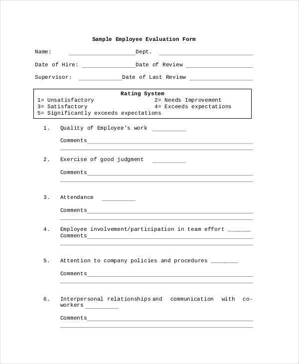 company employee evaluation