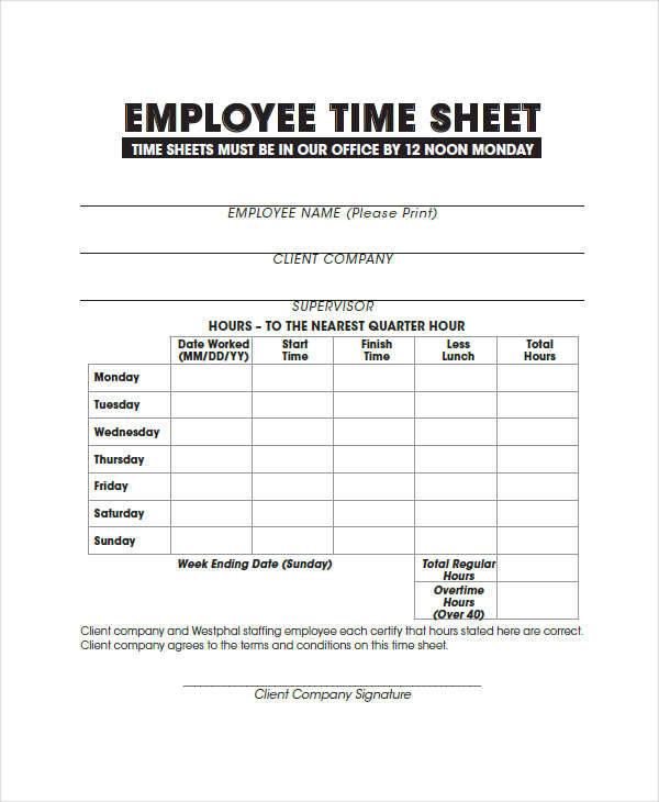 company employee timesheet