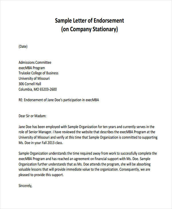 insurance endorsement template  17 Sample Endorsement Letter Samples