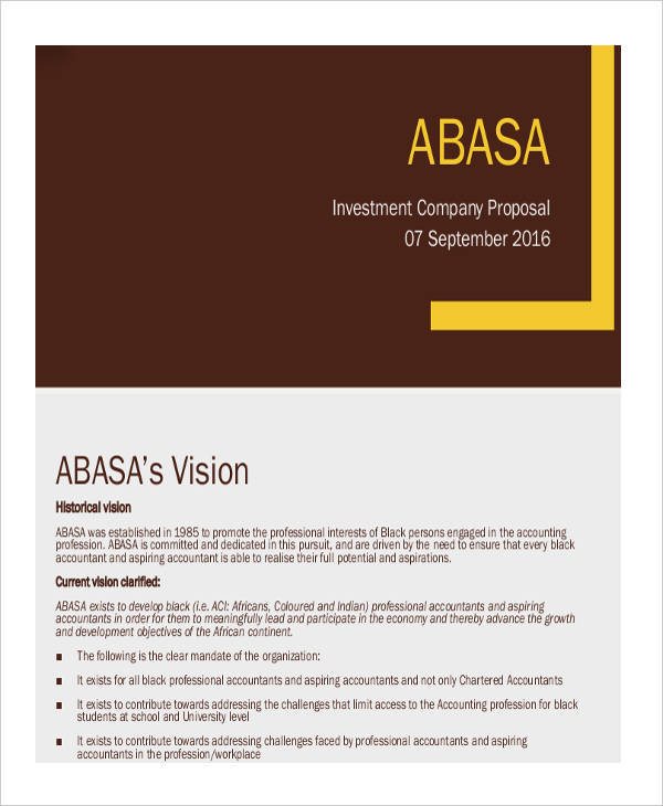 company investment proposal