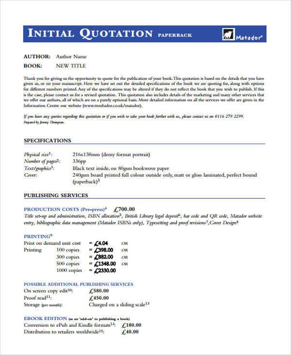 company price quotation