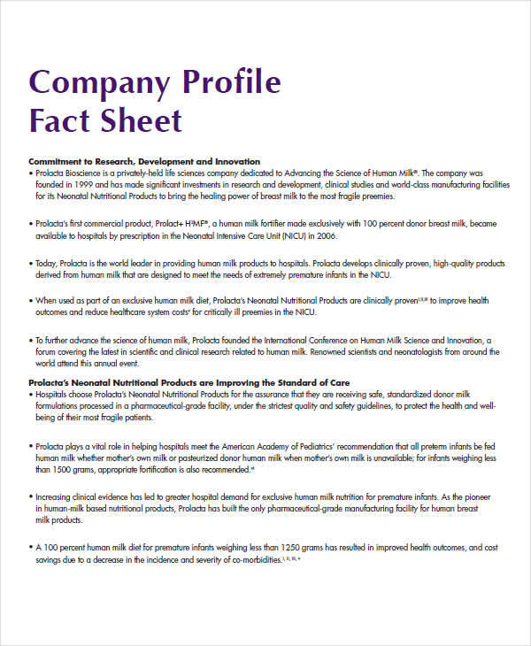 Sample Fact Sheets Fact Sheets Samples On Tactical Business Showing