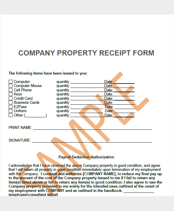 company property receipt