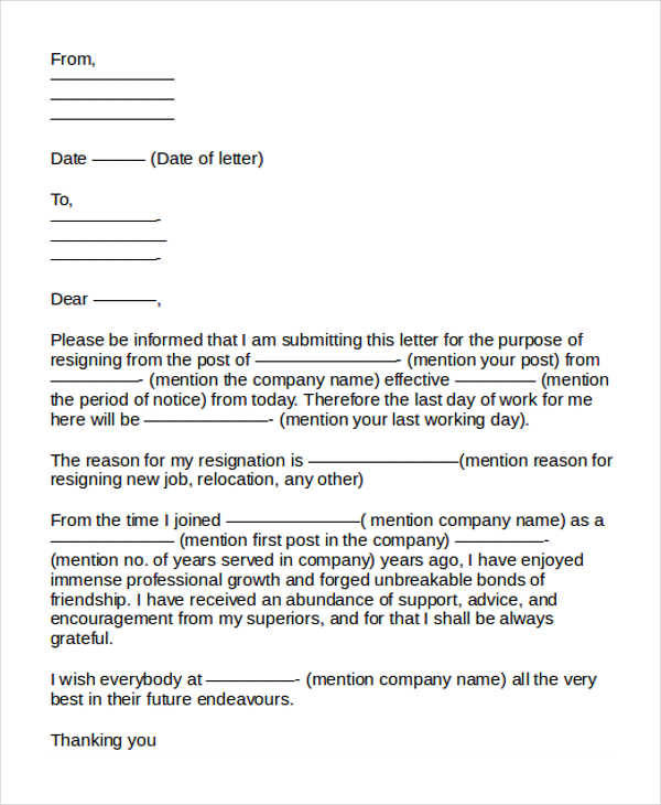 resignation letter format for company 31 formal resignation letters 11437