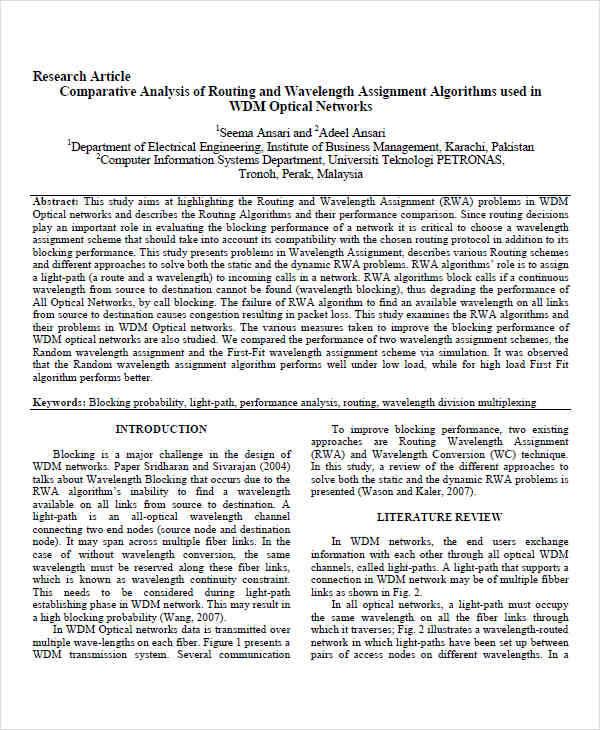 comparative article