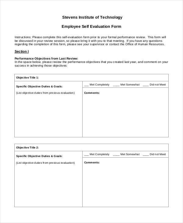 Employee Evaluation Form Examples