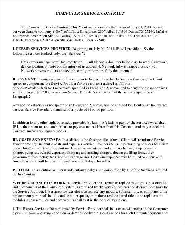 41 free contract templates sample templates for Computer repair service agreement template