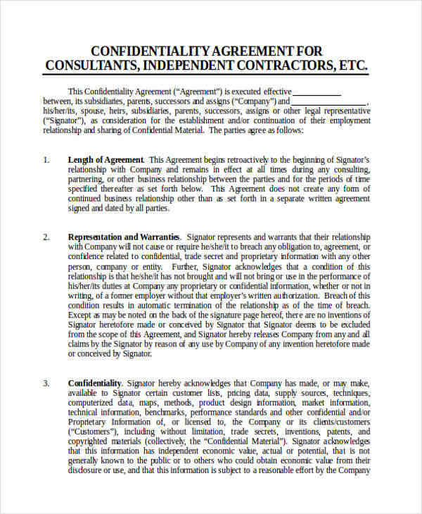 Testcontractor Confidentiality Agreement Sample Client