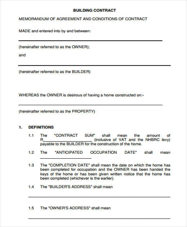 building contracts template - 7 construction contract template free sample example