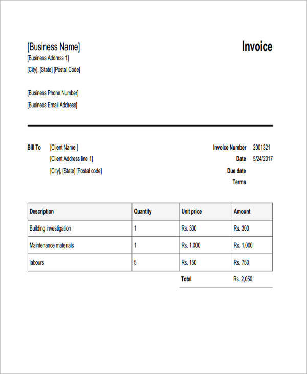 construction building invoice2