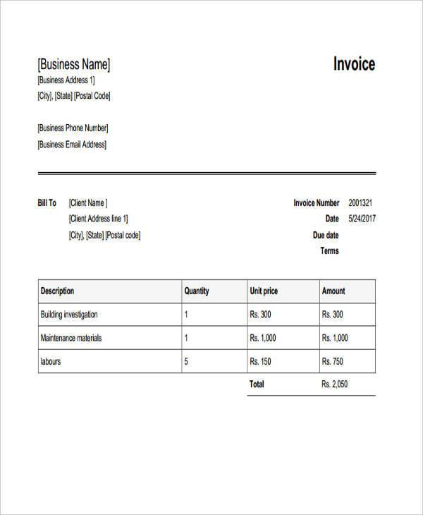 Construction Building Invoice