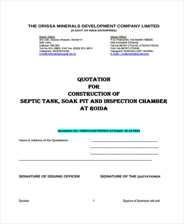 company quotation format