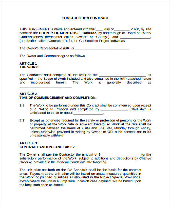 construction contract proposal