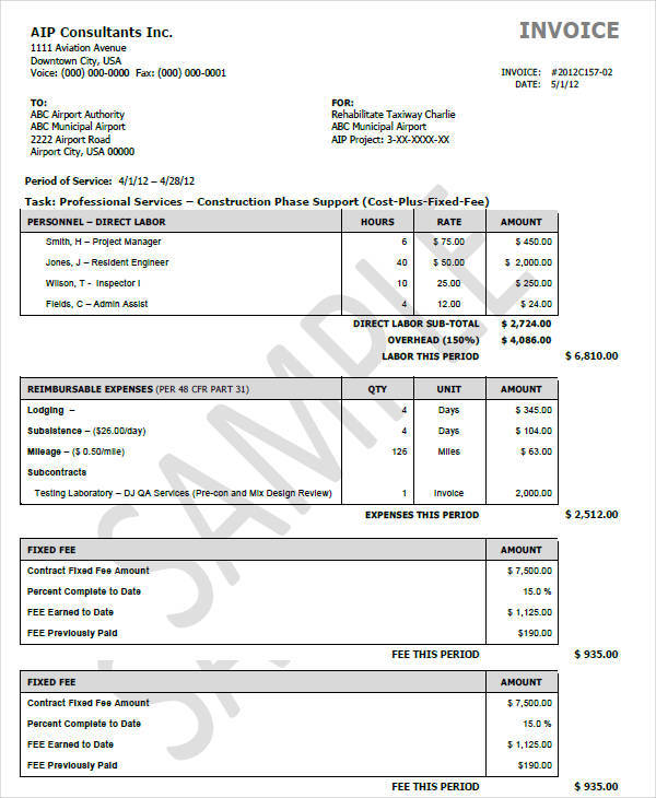 9 Construction Invoice Templates Free Word Pdf Format