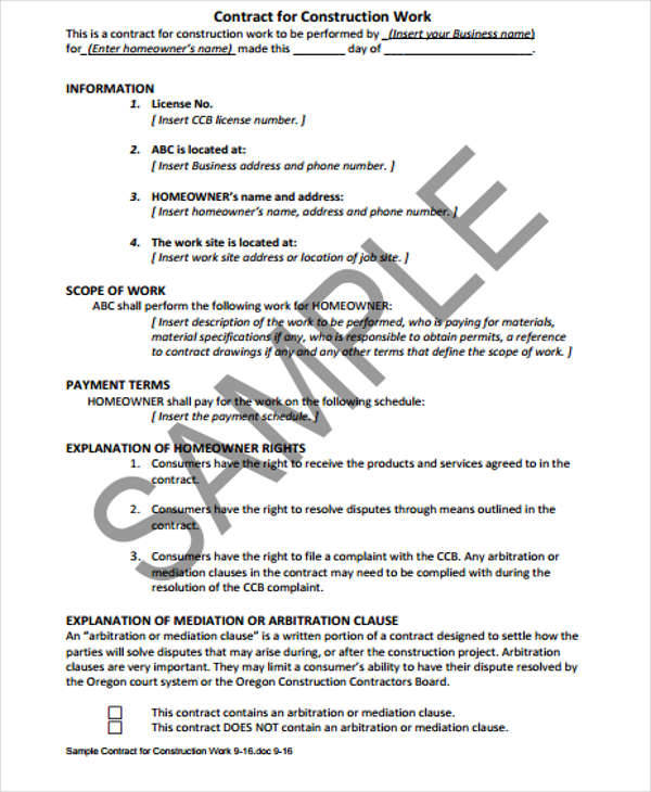 construction job contract template