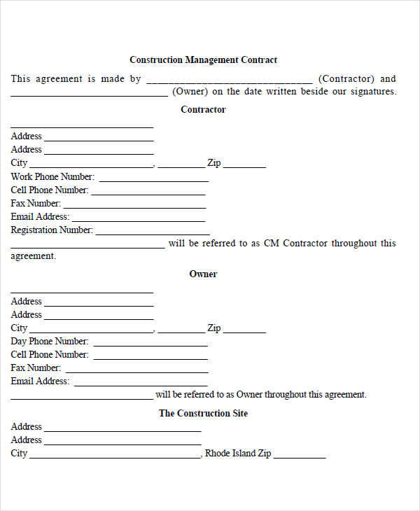 8 management contract template free sample example