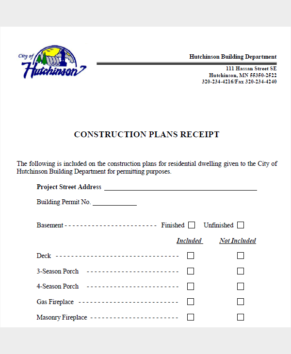 construction plan receipt