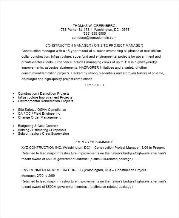 project manager resume examples construction project manager