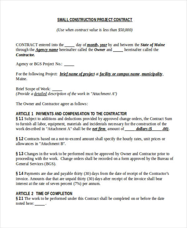 Project Contract Templates  Free Word Pdf Format Download