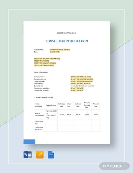 construction quotation template