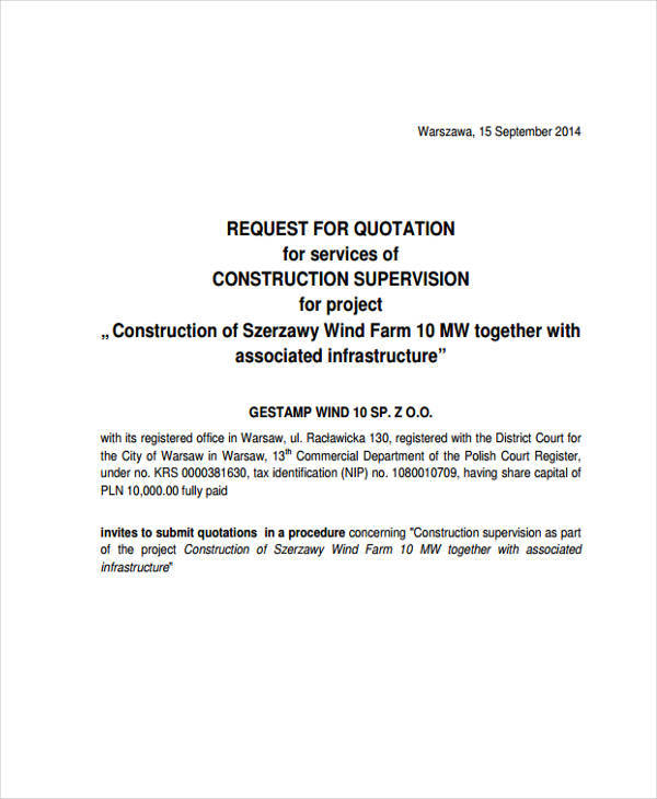 construction request for quotation