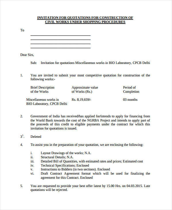 Quotation For Construction Request For Quotation Rfq Undp