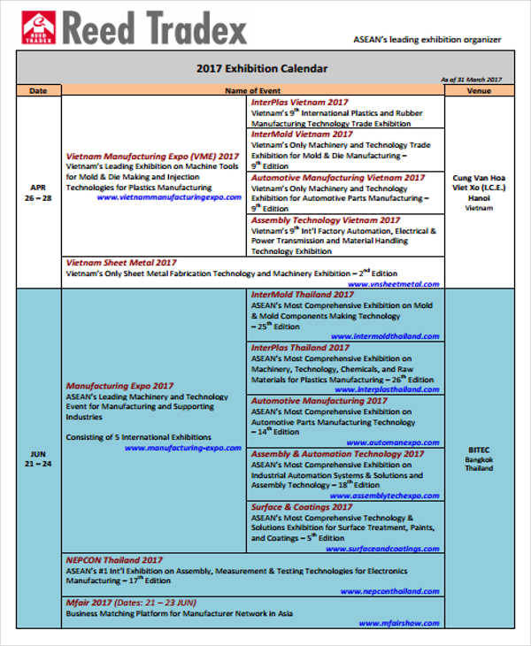 consumer exhibition and event calendar
