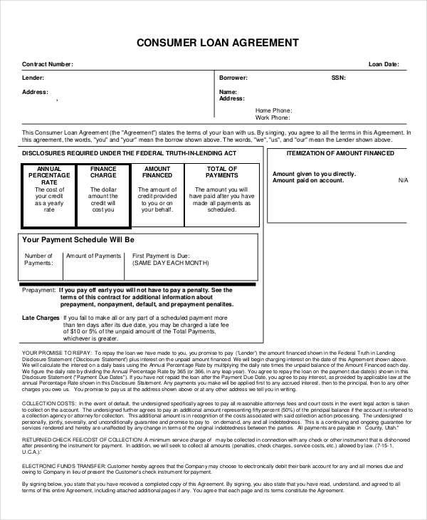 9+ Loan Contract Templates – Free Sample, Example, Format Download ...