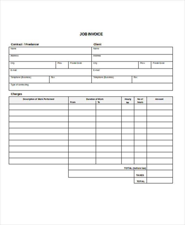 Job Invoice Template  Examples In Word Pdf