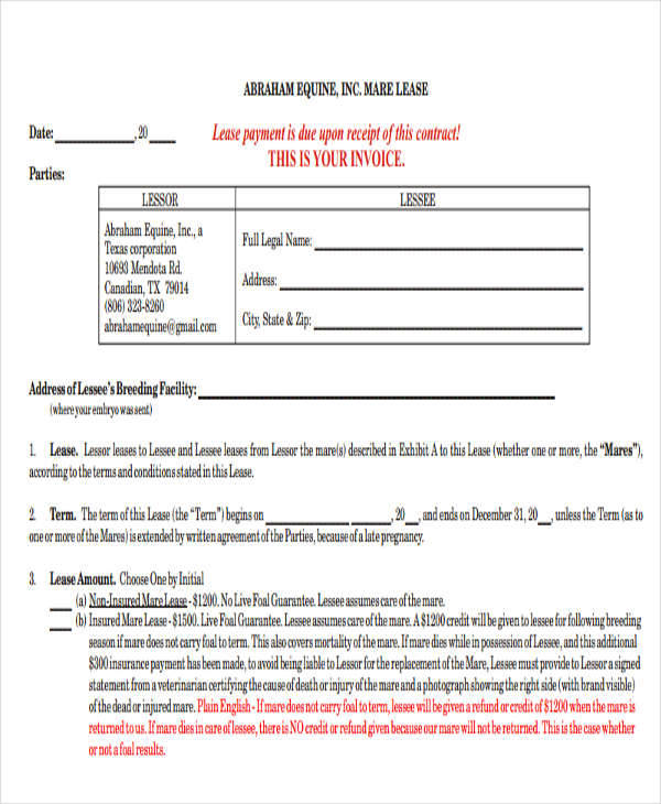 contract lease payment due upon receipt