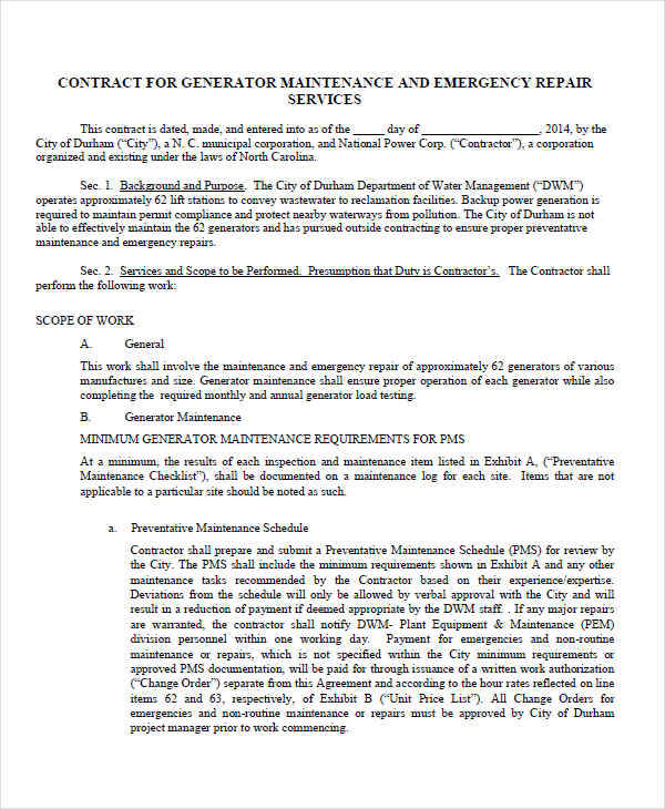 Contract For Generator Maintenance  Maintenance Contract Sample