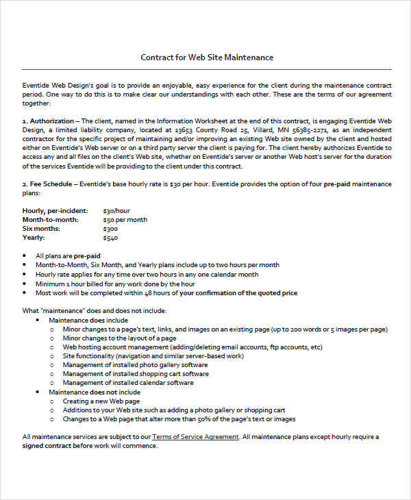 Maintenance Contract Template  Free Sample Example Format