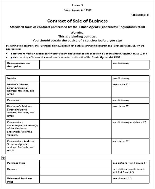 contract of sale of business