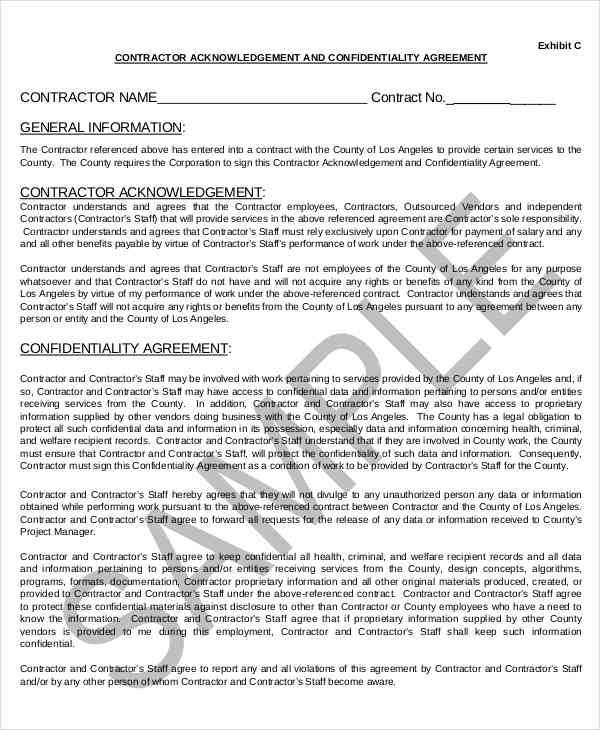 Contractor Confidentiality Agreements  Free Sample Example