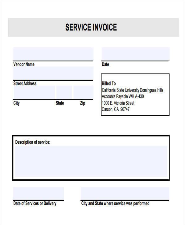 contractor service invoice