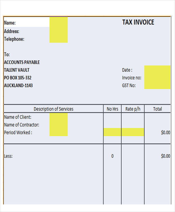 contractor tax invoice