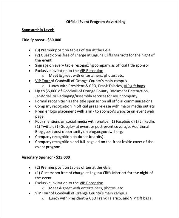 corporate event program ad template