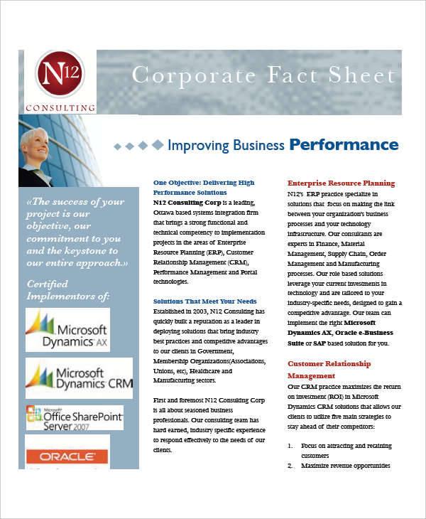 corporate fact information sheet