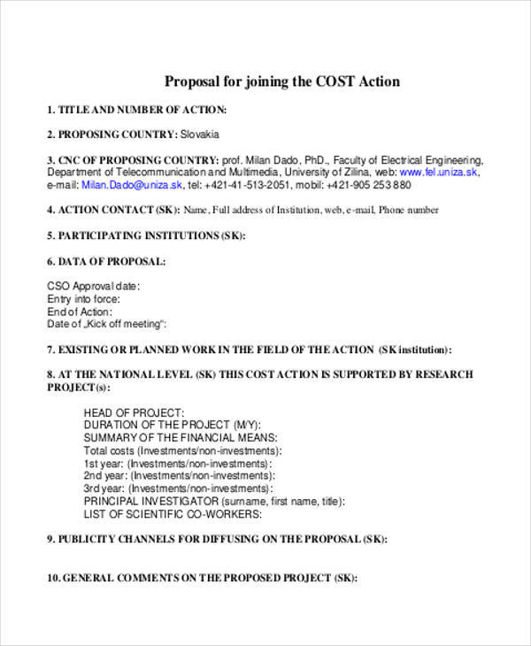 10 Cost Proposal Templates Free Sample Example Format Download
