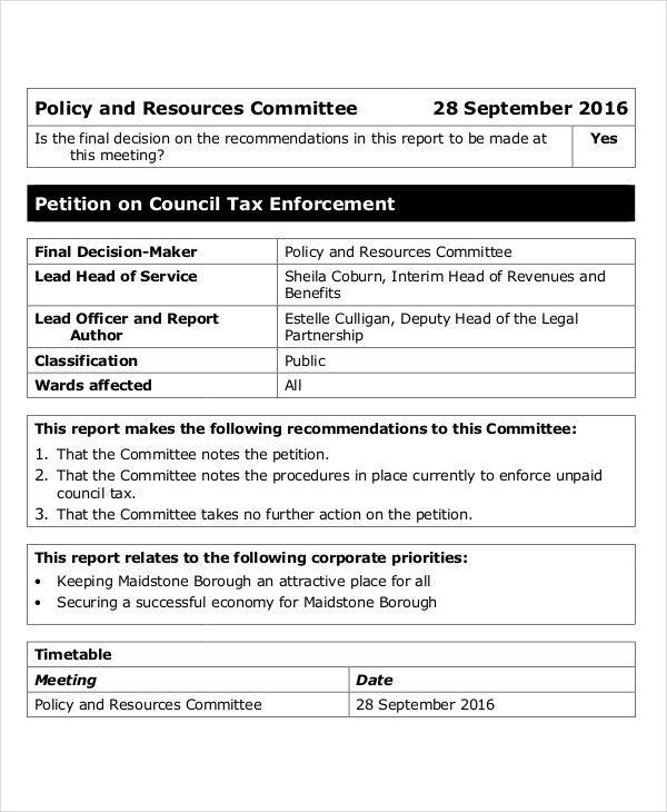 council tax petition