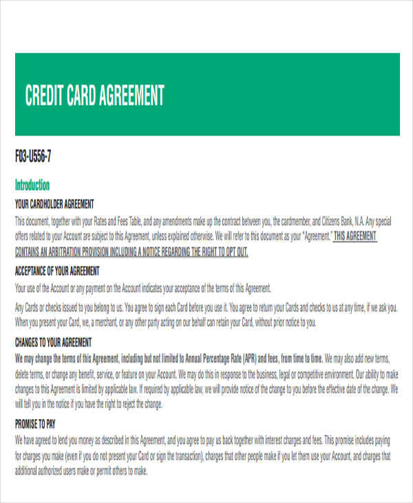 credit card agreement1