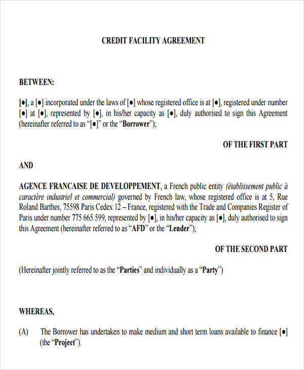 credit facility agreement1