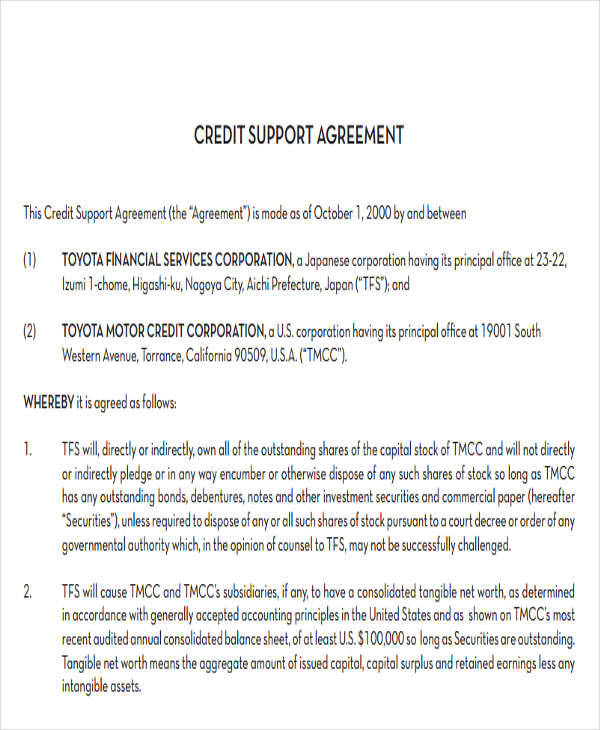 credit support agreement1