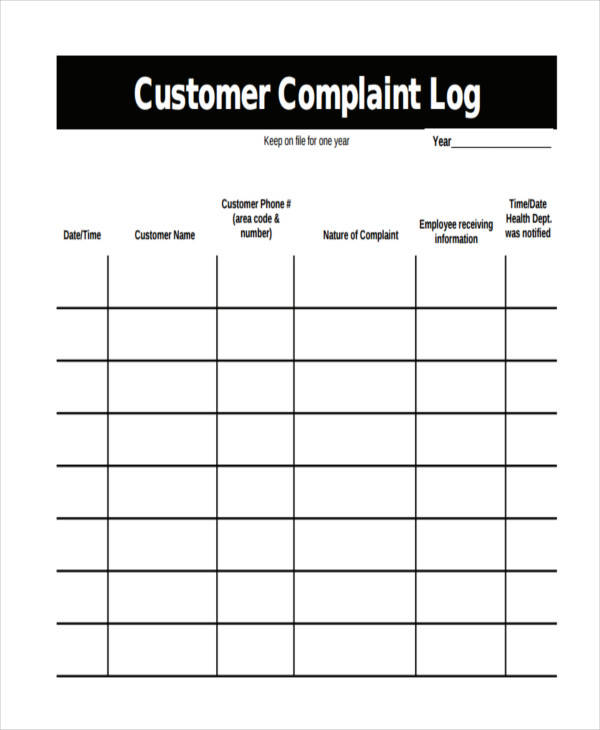 customer complaint log