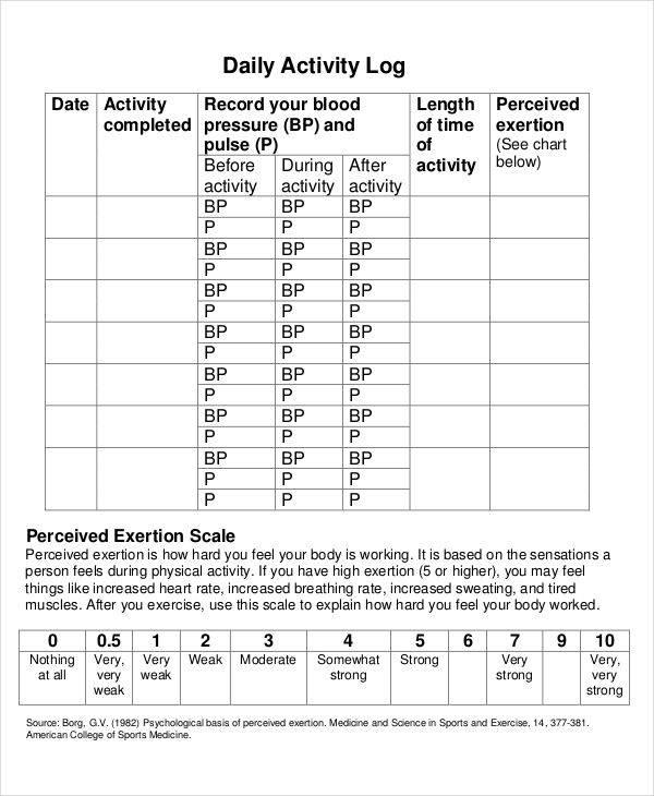 daily activity log