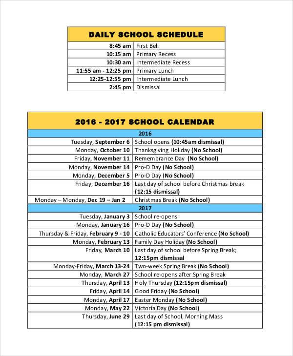 daily calendar schedule1