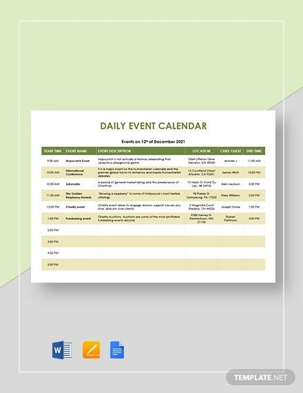 daily event calendar template